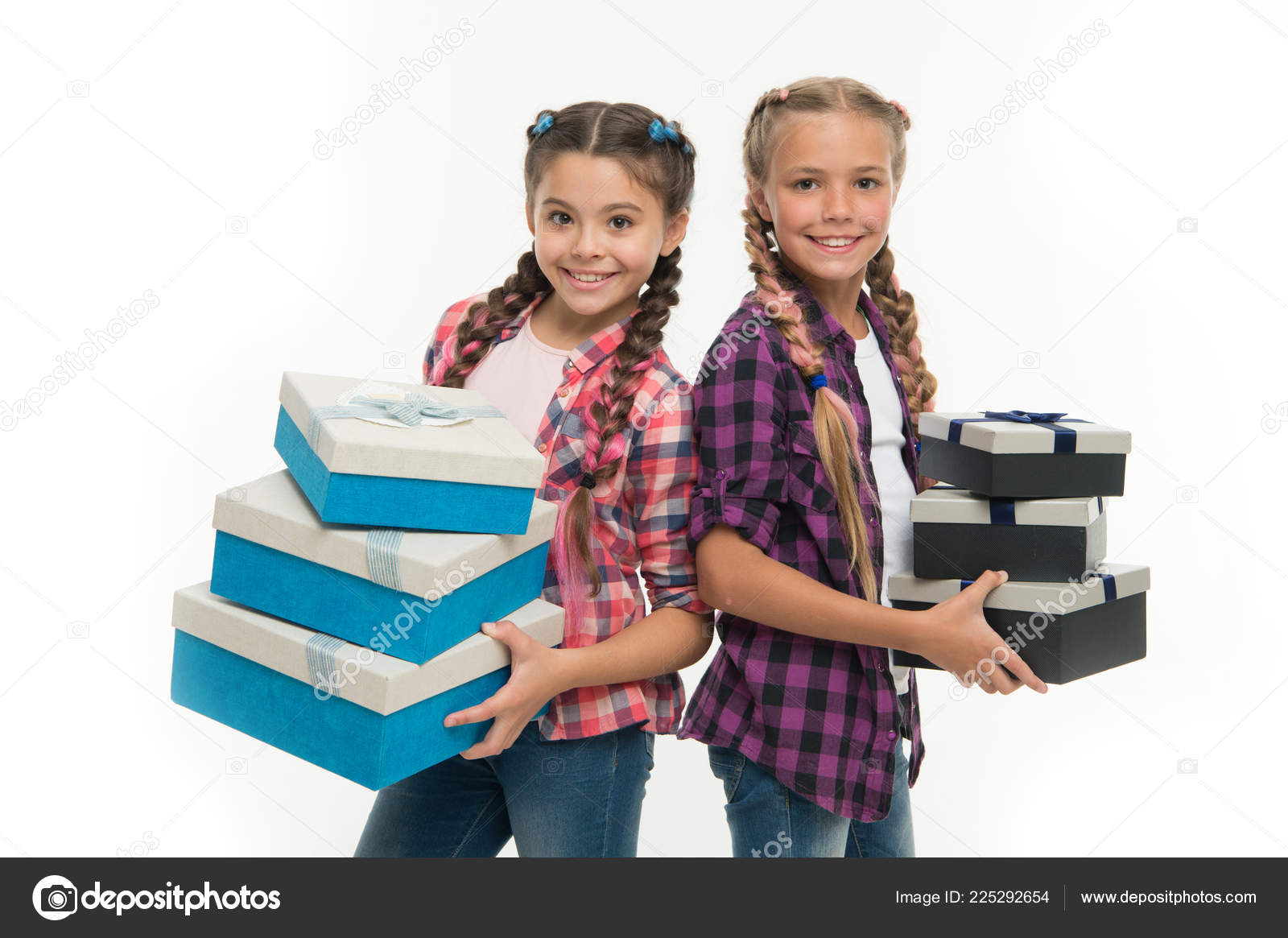 Children Excited About Unpacking Gifts Small Girls Sisters Received Birthday Gifts Dreams Come True Best Birthday