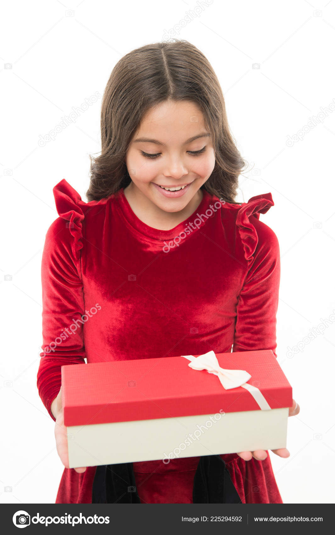 Best toys and christmas gifts for kids. Kid little girl in elegant ...