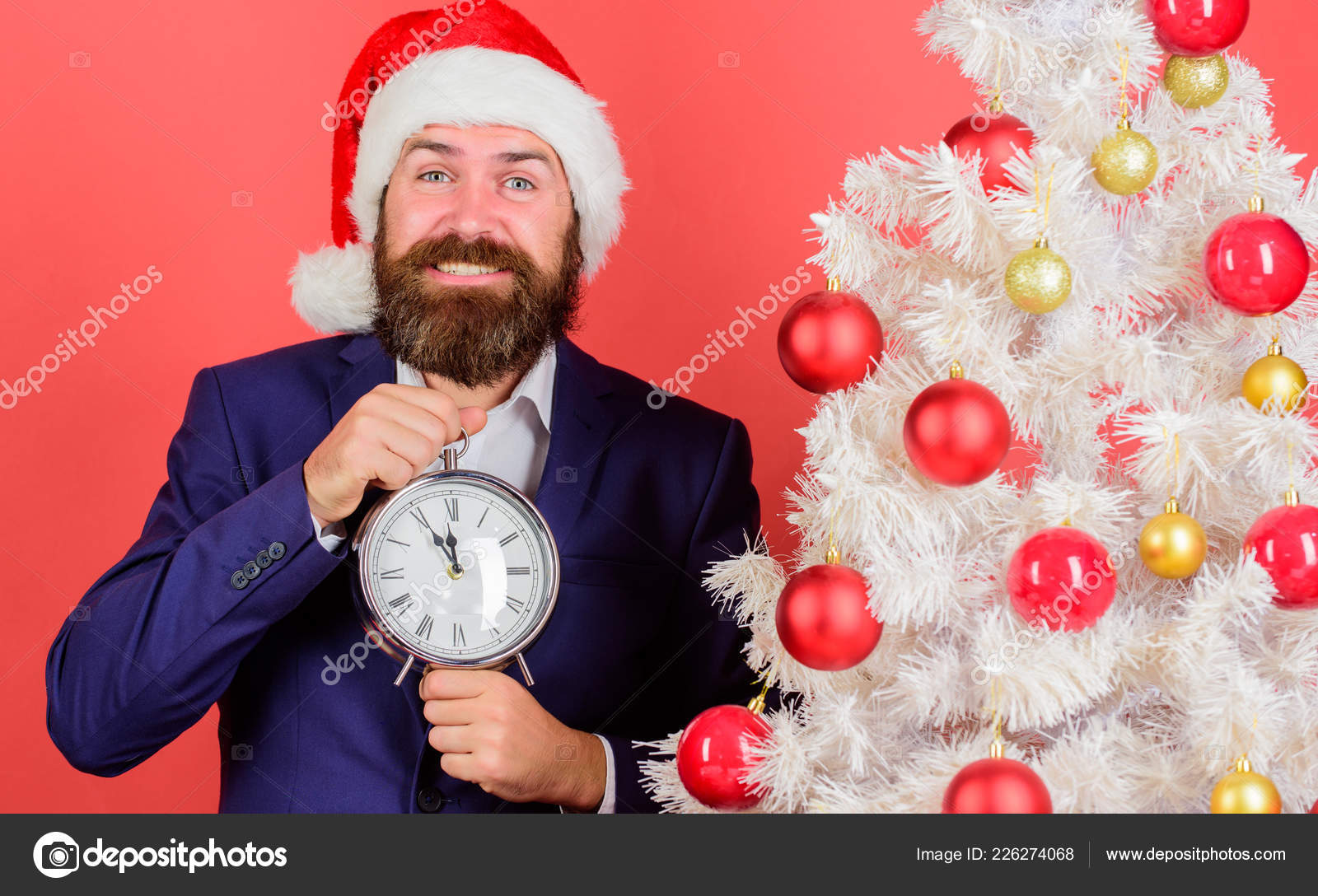 Keep track of time. Time to celebrate. Man bearded wear suit and ...