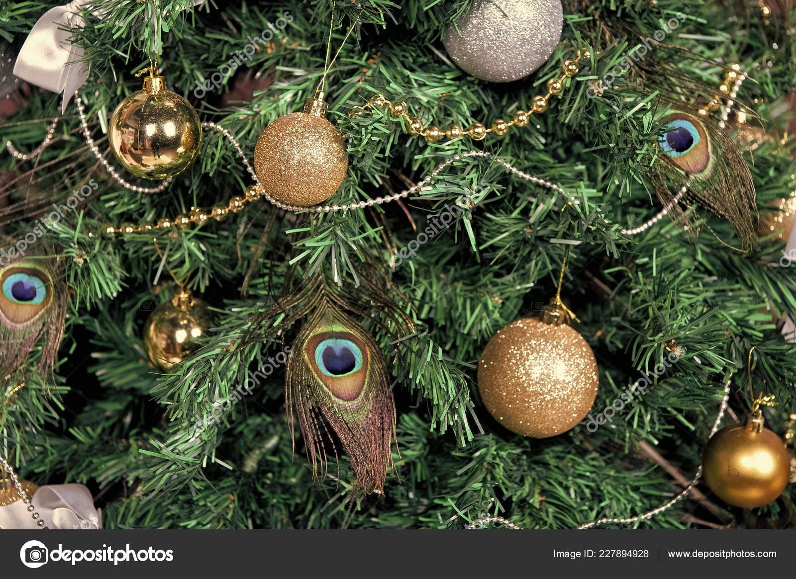 Christmas Tree With Baubles Peacock Feather Garlands Stock Photo Image By C Stetsik 227894928