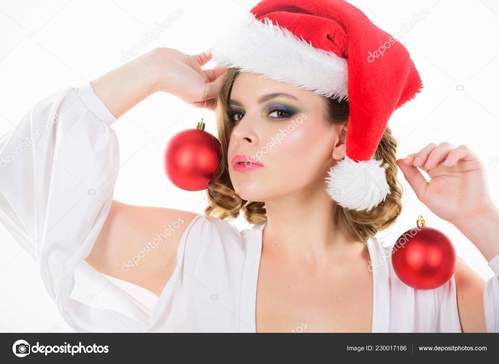 Prepare For Christmas Makeup Idea For Corporate Party Girl With Makeup And Hairstyle Ready To Celebrate