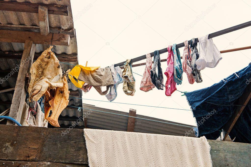 Laundry and fish drying in boca de valeria, brazil