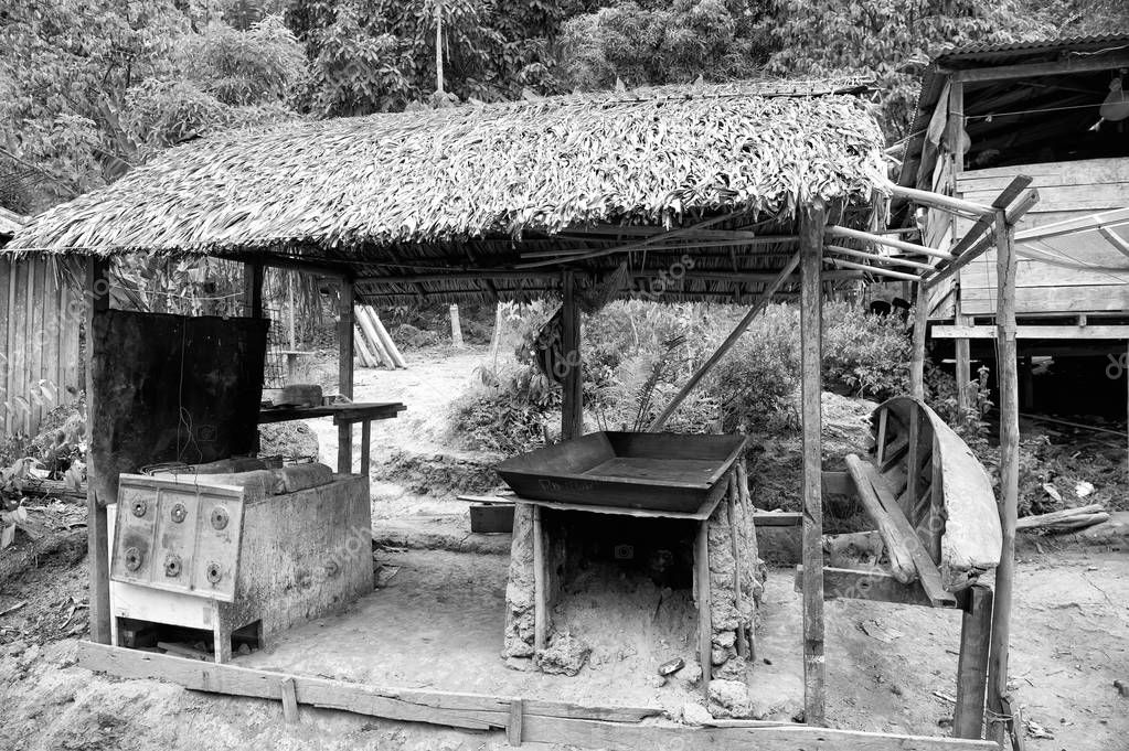 Hut in boca de valeria, brazil. Primitive dwelling hut with dried grass roof. Farm or village in tropic with hut. Eco park. Hut architecture