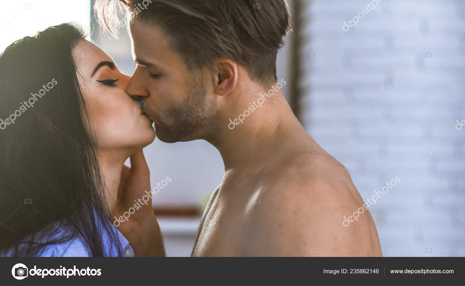 Passionate Kiss Concept Couple In Love Kissing With Passion Man And Woman Attractive Lovers Romantic Kiss Seduction And Foreplay Celebrate Valentines Day Sensual Kiss Of Lovely Couple Close Up Stock Photo