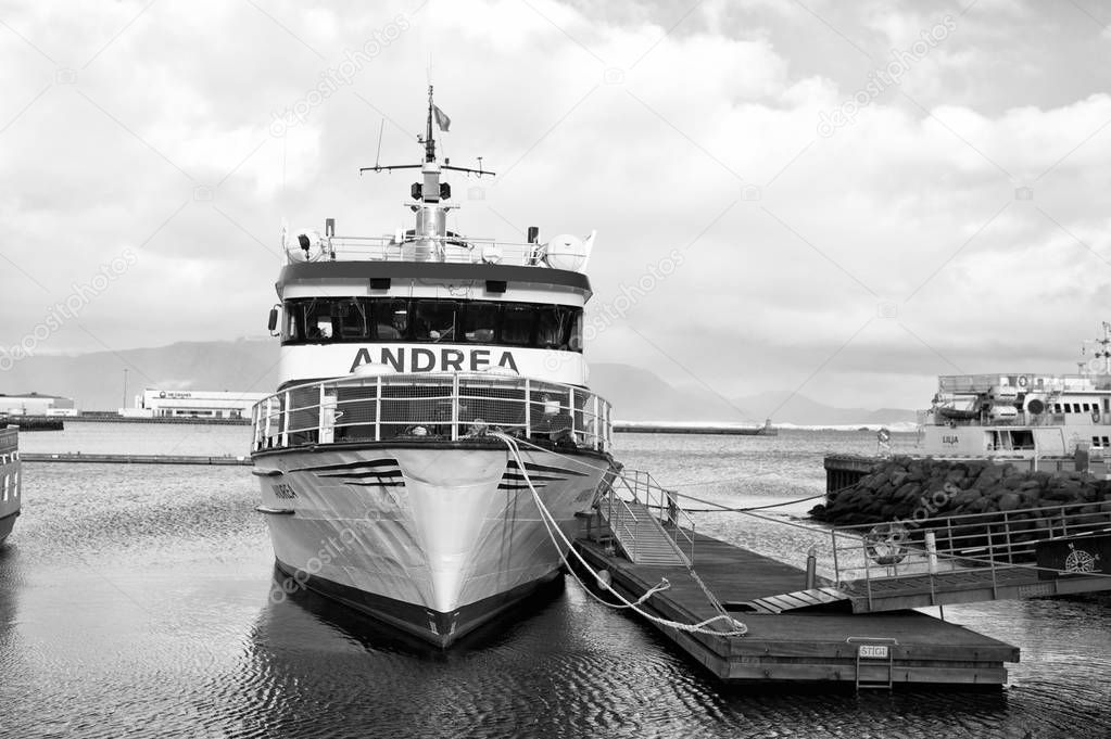 Reykjavik, Iceland - October 14, 2017: ship at sea pier. Traveling by ship. We are traveling the world by andrea ship. Traveling with the professionals