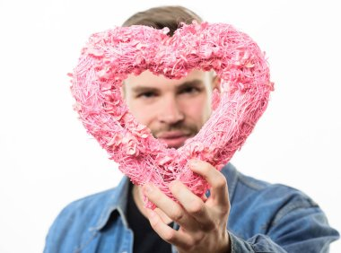 Do you like it. Valentines day party. Love and romance. Man with decorative heart. Date. Romantic greeting. Valentines day sales. unshaved man isolated on white