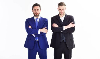 Build business team. Business leaders of department. Men businessman formal suit stand confidently with crossed arms white background. Confident business bosses. Join business team. Trust and support