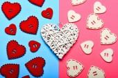 Textury srdce zblízka. Tradiční atributy valentines day. Valentines sváteční výzdobou. Dekorace srdce pozadí. Láska symbol valentines. Valentinky den reklama. Krásné pozadí