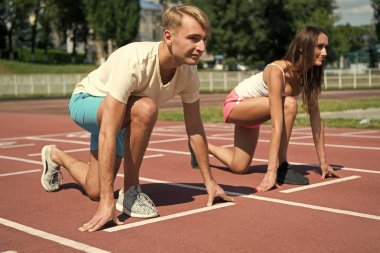workout and health, sport couple start competition running