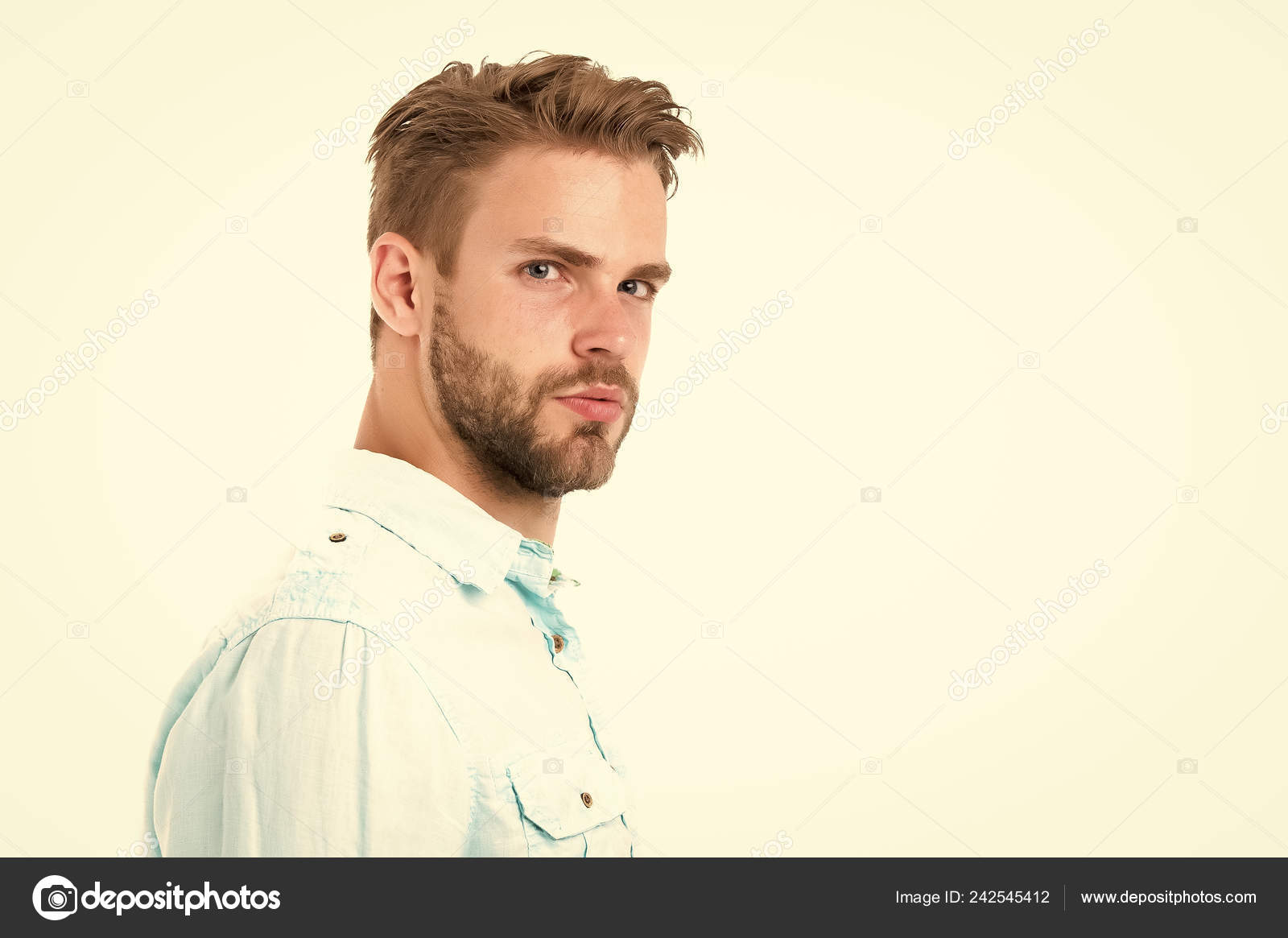 Metrosexual Concept Man Bristle Serious Strict Face Looks Back Isolated White Man Beard Unshaven Guy Looks Handsome And Cool Handsome In Style Guy Bearded Attractive Cares About Appearance Stock Photo Image