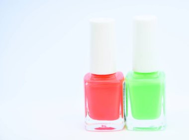 Nail polish bottles. Beauty and care concept. Nail polish white background. Durability and quality polish coating. Gel polish modern technology. How to combine colors. Manicure salon. Fashion trend