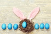 traditionelle Eier in blauer Farbe mit Nest bemalt