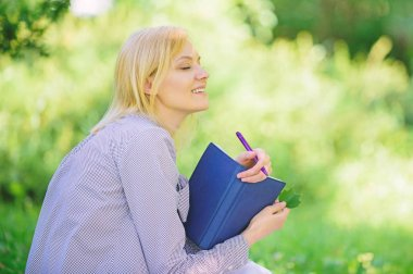 Smart time management. Save your time. Time management skill. Girl with business diary create her daily schedule. Woman relax nature background. Save time for relax. Create break for yourself