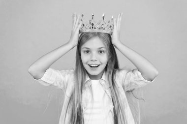 Title miss little princess. Girl wear crown blue background. Cute emotional sincere princess. Kid wear golden crown symbol princess. Every girl dreaming become princess. It is such great honor for me