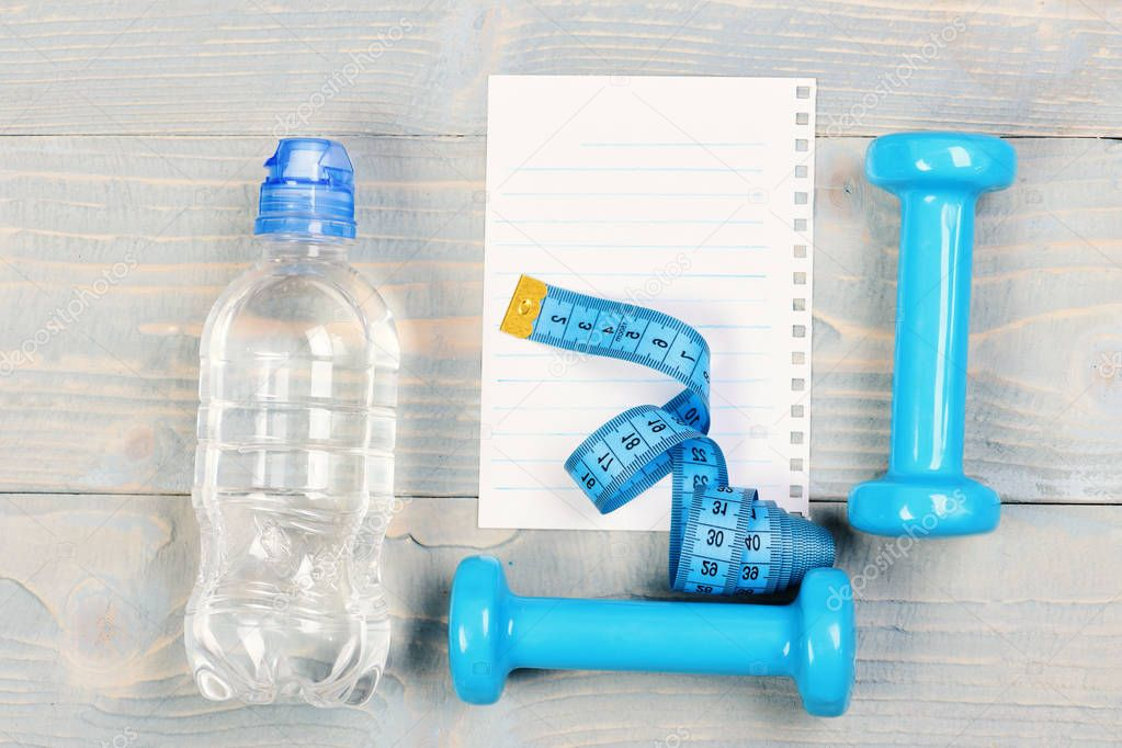 Sports and shaping concept. Fitness tools for weight loss