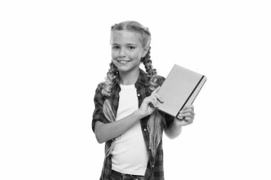Keeping her secrets in diary. Child cute girl hold notepad or diary isolated on white background. Childhood memories. Diary for girls concept. Note secrets down in your cute girly diary journal