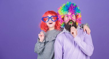 How crazy is your father. Easy simple ways be fun playful parent. Man bearded father and girl wear colorful wig while eat lollipop candy. Thing loving father do for children. Tribute to fun dad