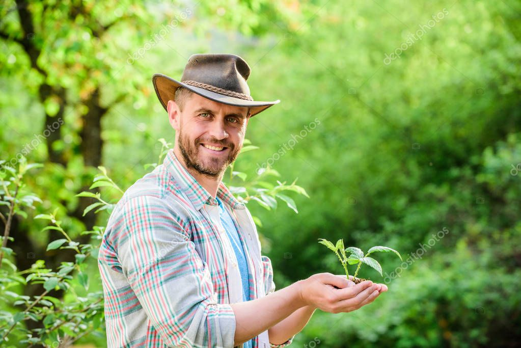 Eco farm worker. Earth day. successful farmer hold plant in ground in hands. farming and agriculture cultivation. Gardening. happy earth day. Eco living. muscular ranch man in cowboy hat care plants