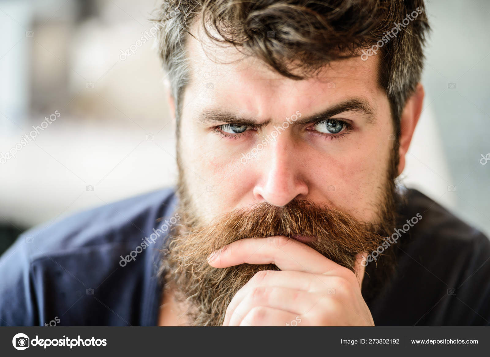 Bearded man feel loneliness. thoughtful man outdoor. Facial
