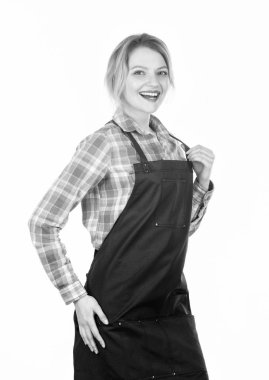 Typical housewife. Pretty girl in chef apron. Preparation and culinary. Family weekend. Woman in kitchen apron. Cook with passion for family. food cooking recipe. Picnic barbecu