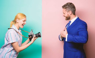 Handsome businessman posing camera. Nice shot. Fame and success. Businessman enjoy star moment. Photographer taking photo successful businessman. Paparazzi concept. Photosession for business magazine