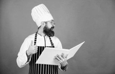 Delivery confirmation. Chef man in hat. Secret taste recipe. Vegetarian. Mature chef with beard. Bearded man cook in kitchen, culinary. Dieting and organic food, vitamin. copy space. Healthy food
