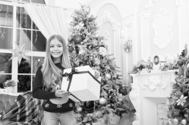 Happy new year. Winter. Christmas tree and presents. xmas online shopping. Family holiday. The morning before Xmas. Little girl. Child enjoy the holiday. Our traditions