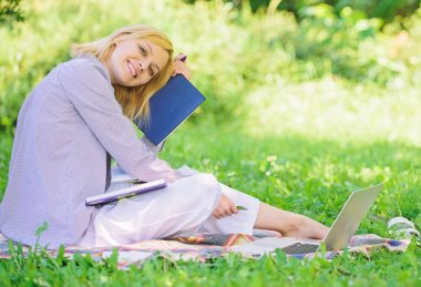 Woman relax nature background. Save time for relax. Create break for yourself. Smart time management. Save your time. Time management skill. Girl with business diary create her daily schedule
