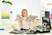 Business challenge. Accounting and banking. Smart blonde earn lot of money. Financial success. Tax service. Financial achievement. Financial expert. Girl with briefcase full of cash. Money laundering