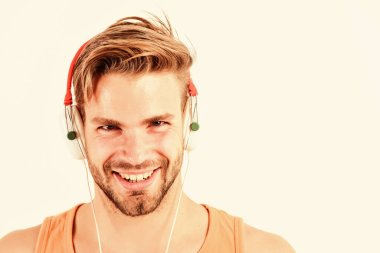 Enjoy perfect music sound headphones. Sale discount. Music fan concept. Man guy listening music headphones white background. Modern technology. Buy music gadget. Shop store musical accessory gadgets