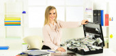 Smart blonde earn lot of money. Financial success. Tax service. Financial expert. Girl with briefcase full of cash. Financial achievement. Money laundering. Business challenge. Accounting and banking