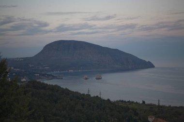 mount Ayu Dag in the Crimea in the evening.