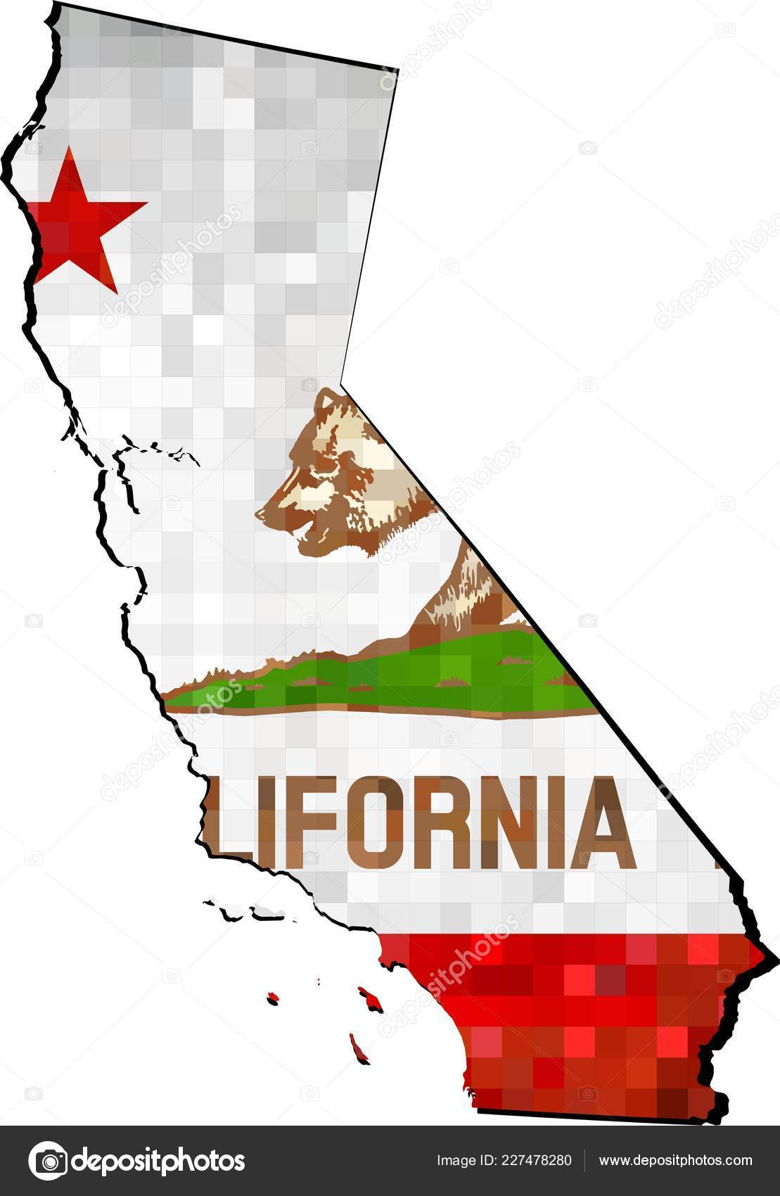 Kalifornien Karte.Grunge California Karte Mit Fahne Innen Illustration Karte Von
