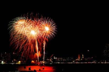 Many flashing fireworks with night cityscape background celebrat