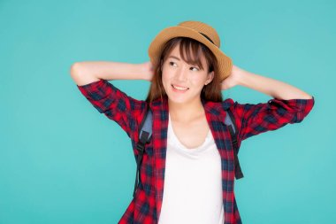 Beautiful portrait young asian woman holding hat smile expressio