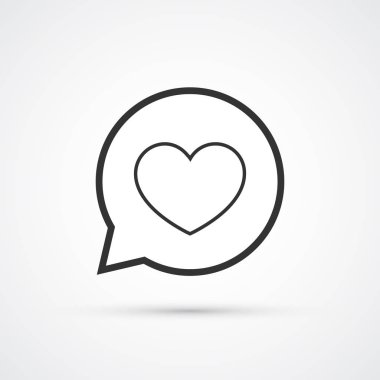 Heart in speech buuble flat line trendy black icon. Vector eps10