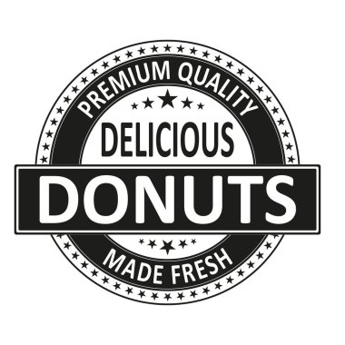 premium quality delicious donuts made fresh badge stamp