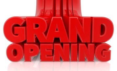 3D GRAND OPENING word on white background 3d rendering