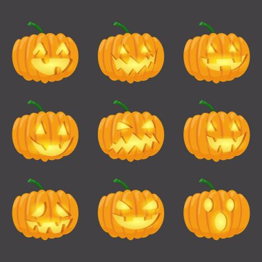 Set of halloween pumpkins with different expressions, glow in the dark, vector illustration on dark background icon