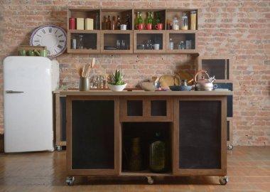 Kitchen on a brick background. Interior