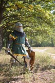 Fotografie Medieval Knight in armor in the woods