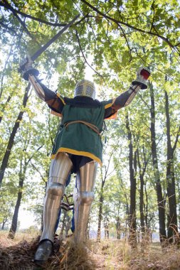 Medieval Knight celebrating  victory in forest