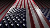 Photo American flag, geometrical design background. Digital 3D render.