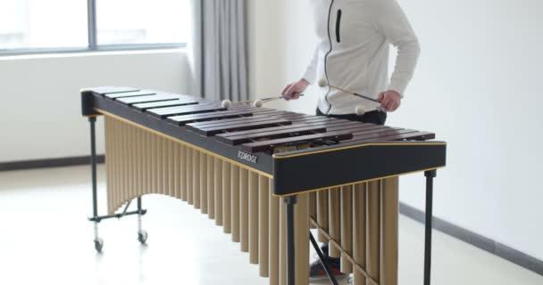 profi zenész, aki négy bottal zenél a marimbáján. gyönyörű, képzett kezek játszanak hangszeren. Mans, Franciaország 1-1-19