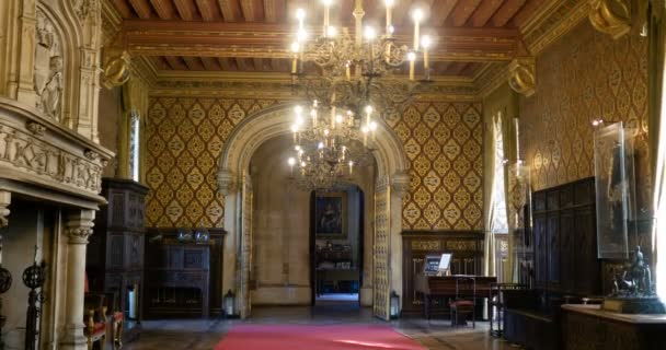 Inside indoor reception room of Chateau du lude: Le lude Castle In Chateaux de la Loire Valley is a very famous and historical interesting place. Le lude, Francie 27 / 2 / 19