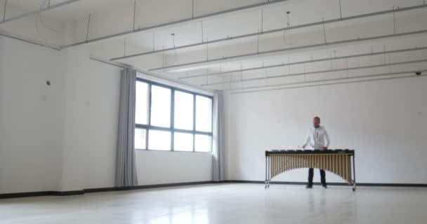 Zenész egy üres szobában, aki hangszeren játszik. kreatív elszigetelt művész játszik és gyönyörű dallamokat készít üres térben Mans, Franciaország 1-1-19