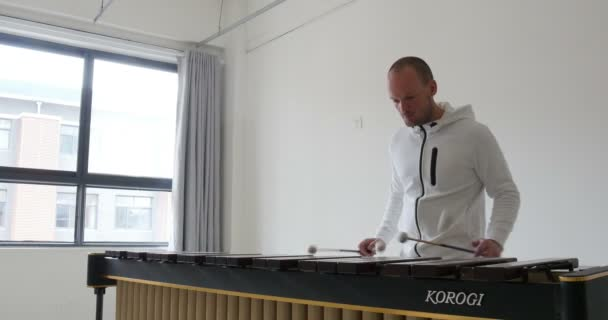 Fehér férfi ütőhangszeres, ütőhangszeren játszik. ez a profi gazdaság négy dob játszik klasszikus zenét fából készült zenei billentyűzeten.