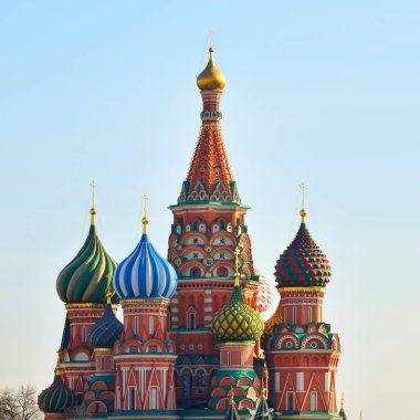 View of Saint Basils Cathedral in Moscow, Russia