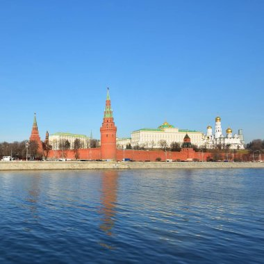View of Kremlin and a bridge over Moskva river in Moscow, Russia