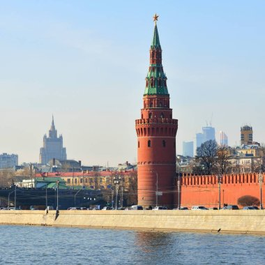 Moscow landmarks. Kremlin tower view.